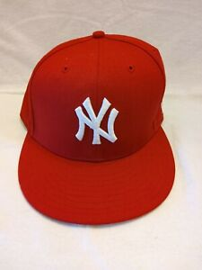 New Era 59Fifty Cap MLB Team New York Yankees Mens Scarlet Red Fitted sz. 7 5/8