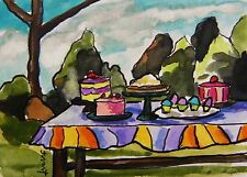 ORIGINAL ACEO Cake LANDSCAPE  painting JMW art John Williams ATC Ink Watercolor