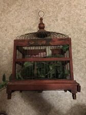 Vintage Wood & Metal Wire Bird Cage Spring Door Wood Floor Pullout for Cleaning