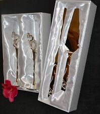 Wedding/Toasting Glasses Silver Diamante Crystal Hearts Cake Knife & Server Set