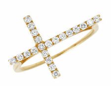 Ladies 14K Yellow Gold Genuine Diamond One Row Sideways Cross Ring .45Ct  20MM