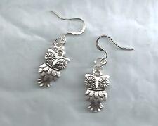 Small Owl earrings- dk.silver tibetan, alloy metal charms, drop/dangle/hook