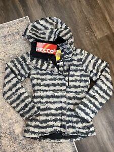 Mountain HardWear Q Barnsie Ski Jacket Parka Hooded Grey Striped Women XS