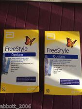 Freestyle Optium Blood Glucose 100 Test Strips No Coding Brand New 2 boxes X 50