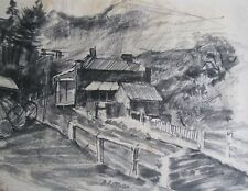 "ALAN RITTMAN AUSTRALIAN CHARCOAL PENCIL ""GIPPSLAND LOGGING TOWN"" C 1940"
