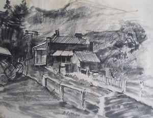 "ALAN RITTMAN AUSTRALIAN CHARCOAL PENCIL ""GIPPSLAND LOGGING TOWN"" C 1940 A"