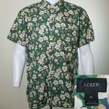 J Crew XL Short Sleeve Floral Cotton Shirt Green