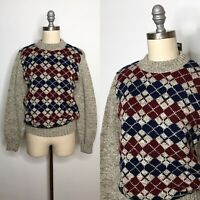 Vintage 70s Fall River Knitting Mills Argyle Sweater Size Small