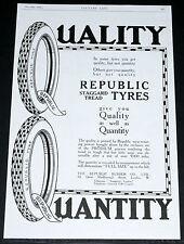 "1916 OLD WWI MAGAZINE PRINT AD, REPUBLIC ""STAGGARD TREAD"" AUTOMOBILE, CAR TYRES!"