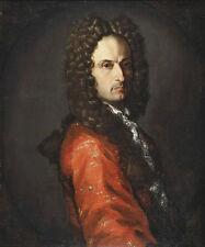 Art Oil painting Middle-aged man portrait in red cloth with long hair on canvas