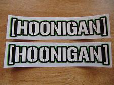 hoonigan sticker - pair -  ken block  decal 7in x 1.5in - green outline