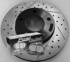 09-10 Lincoln MKS Drilled Slotted Brake Rotors Posi Quiet Ceramic Pads F+R Set