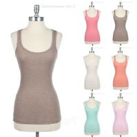 Women's Heather Ribbed Cotton Racerback Tank Sleeveless Casual Top Active