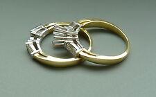 18K Yellow and White Gold Diamond Semi Mount Engagement Ring Set