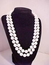 Vintage TRIFARI Necklace-White Bead-Double Strand- Enamel Clasp Stamp 32