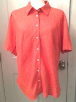 Talbots Womens Irish Linen Top Shirt Sz 14W XL Coral Salmon Orange Short Sleeve