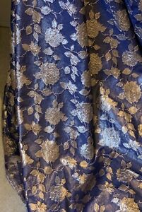 """1 METER NAVY GOLD CORDED METALIC TWO TONE SOFT BROCADE FABRIC 55"""" WIDE"""