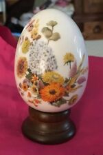 Avon Collectible Vintage 1987 Porcelain Egg W/Stand Autumn's Color By E. Hoffman