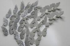 16 Set 3D Schmetterlinge Grau Silber  Wanddeko Weihnachten
