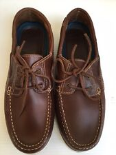 CLARKS, BROWN LEATHER DECK SHOES. SIZE UK 8 EUR 42.