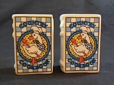 """Salt and Pepper Shakers White Goose COUNTRY COOKBOOK Blue Ceramic 2.5"""" Vintage"""