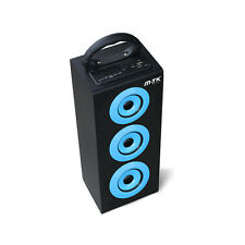 Altavoz portatil multimedia azul subwoofer radio FM USB SD mando mp3 bateria