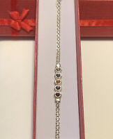 """Unbranded 925 Sterling Silver 7""""  Bracelet  5 Colorful Hearts. Cute"""