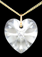 Gold Heart Necklace 9ct Diamond White Swarovski Crystal Pendant Chain 9k Jewelry