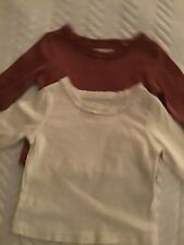 NEXT Baby girl tops, 3-6 months, frilled neck, cream and plum colours