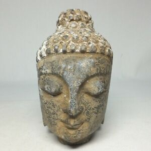 D1713: Chinese stone ware Buddha head statue with appropriate work and quality
