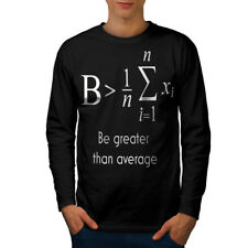 Wellcoda Be Greater Mens Long Sleeve T-shirt, Maths Funny Graphic Design
