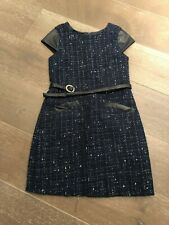 BISCOTTI KATE MACK NWT BLUE KNIT DRESS WITH LEATHER ACCENT AND BELT SZ 12