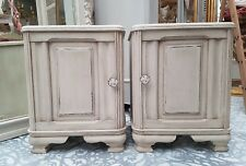 GORGEOUS PAIR OF ANTIQUE FRENCH OAK BEDSIDE CABINETS - C1940
