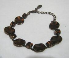 Lovely copper tone metal bracelet chain discs brown stones Pilgrim 7 ins