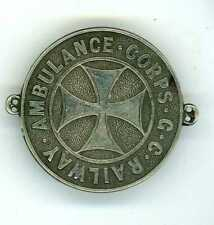 More details for great central railway ambulance corps white metal sew-on badge