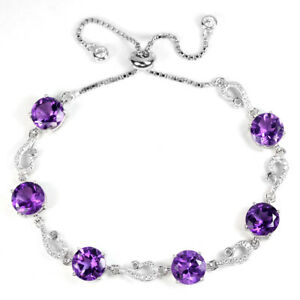 NATURAL AAA PURPLE AMETHYST ROUND STERLING 925 SILVER BRACELET FREE SIZE