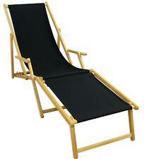 Transat pour jardin Noir Lit soleil bois chaise longue avec pied 10-305 N