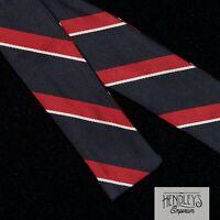Vintage Bow Tie in Navy Blue Red White Striped Repp Silk Bowtie ENGLAND