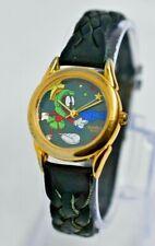 Ladies 1996 Armitron Marvin the Martian Watch, Looney Tunes, Black Leather, Runs