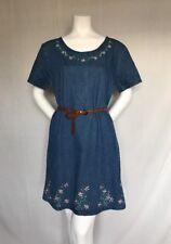 Womens Jane Ashley Knee Length Blue Embroidered 100%Cotton Scoop Neck Dress Sz L