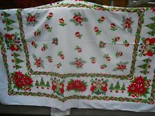 Vintage Christmas Tablecloth Cotton, Red Poinsettias Carolers Ornaments & Bells