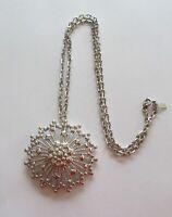 Monet Necklace & Pendant- silver color- circular -flower- pretty detail design