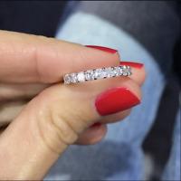 2.05Ctw Asscher Cut Brilliant Diamond Eternity Wedding Band Solid 14k White Gold
