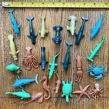 VTG Ocean Animals Toy Plastic Rubber Mini Figures Sea Creatures Fish Lot Of 24