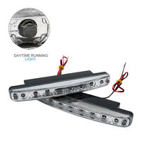 2x Bright White DC 12V 8 LED Daytime Running Light DRL Car Day Driving Fog Lamp