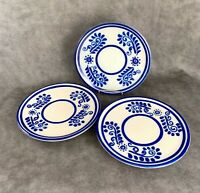 """Lot of 3 CAIREM POTTERY SALT GLAZED STONEWARE BLUE GREY SMALL LUNCH PLATE 8.75"""""""