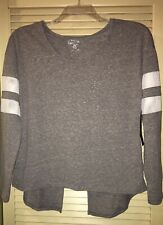 New Gray Almost Famous Open Back W/ Mesh Varsity Stripe Sleeves Size Large Top