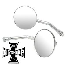 MOTORCYCLE MIRRORS, CHROME/ROUND. 10MM THREAD. BOBBER, HARLEY, CAFE RACER.