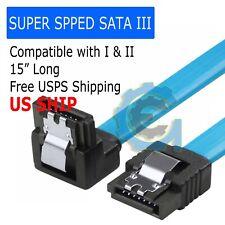 "15"" SATA 3.0 Cable SATA3 III 6GB/s Right Angle Serial ATA SSD Hard Drive Blue"