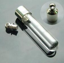 10pcs GLASS TUBE VIALS silver tone SCREW small vial EMPTY bottle CHARM PENDANTS